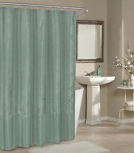 Image Is Loading Silver Blue Faux Silk Fabric Shower Curtain Metallic