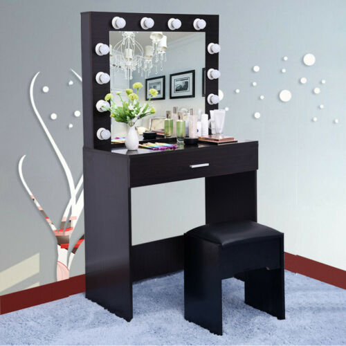 Vanity Makeup Dressing Table Soft Stool Flip Lighted Mirror Drawer Writing Desk