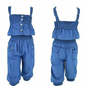 030f1344d3a77a Das Bild wird geladen Jeans-Overall-Kinder-Maedchen-Einteiler-Jumpsuit- Sommer-Traeger-