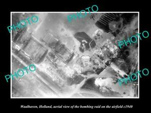OLD-POSTCARD-SIZE-MILITARY-PHOTO-WAALHAVEN-HOLLAND-AERIAL-VIEW-BOMBING-c1940