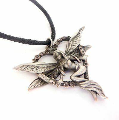 Greenwood Elf Heart Love Fairy Amulet Charm Pendant Necklace Pewter GW06