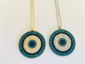 Sterling-Silver-Gold-Evil-Eye-Necklace-Turquoise-Mati-Cubic-Zirconia-CZ-Large