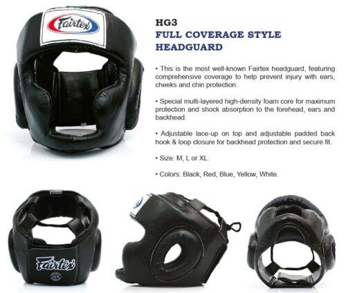 FAIRTEX HEADGUARD HG3 FULL COVERAGE STYLE HEAD GUARD MUAY THAI KICK BOXING NEW