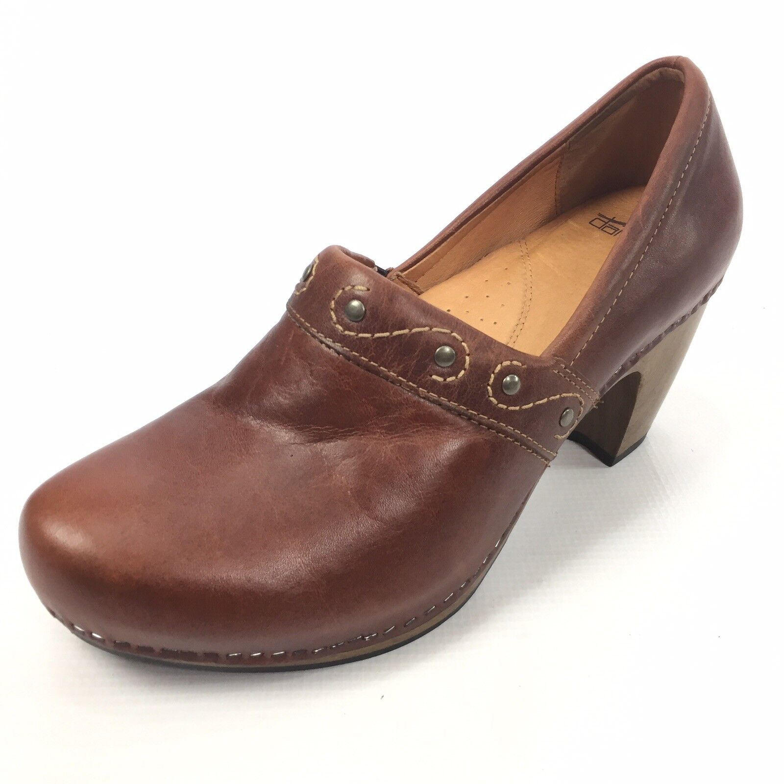 DANSKO Women's Brown Leather Heeled Clogs 11   41