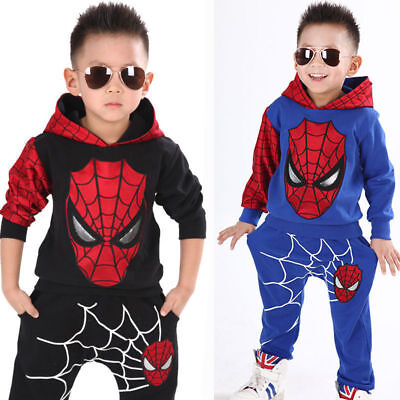 Toddler Kids Spiderman Pattern Hooded Tracksuit Boys Cotton Tops Pants Outfit