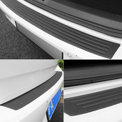 Car Rear Trunk Sill Plate Guard Rubber Bumper Protector Pad Cover+4x Stickers