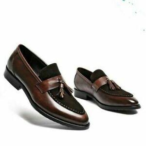 Mocassins en cuir marron et daim noir à la main pour hommes