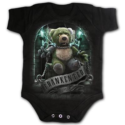 SPIRAL DIRECT Frankented babygrow//baby grow//sleep suit biker//horror//Frankenstein