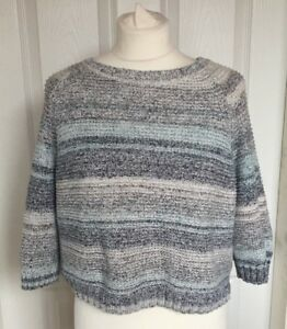 Ladies-FatFace-Grey-Blue-White-Striped-Cropped-3-4-Sleeve-Jumper-Size-S-M-B63