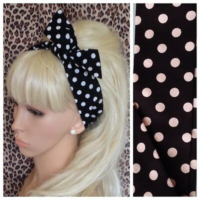 Vintage Inspired Navy Spot Wide Rockabilly Retro Fabric Wired Headband