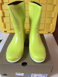 44b25a5ddca Details about Ugg Australia Sienna Women's Rain Rubber Boots Neon Lime  Yellow 1014452 Sz 11