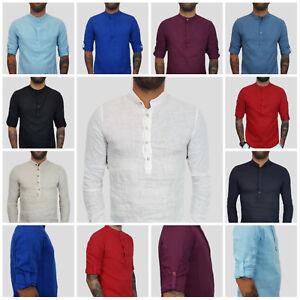 Camicia-Uomo-Coreana-Manica-Lunga-Lino-Bianco-Blu-Sabbia-Italy-s-m-l-xl-xxl-1666