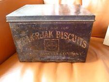 Large Black Primitive Tin Krak-R-Jak Biscuits Box Antique St. Louis 7x8x10