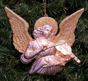 GLITTER & GOLD ANGEL PLAYING VIOLIN CHRISTMAS ORNAMENT | eBay