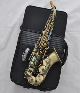 high grade antique curved sax soprano saxophone high f key abalone shell key ebay. Black Bedroom Furniture Sets. Home Design Ideas