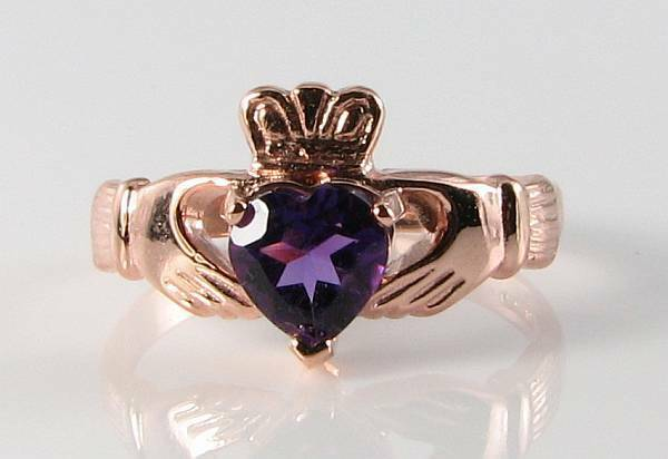 DIVINE 9CT 9K pink gold AAA AMETHYST CLADDAGH HEART RING FREE RESIZE