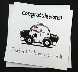 funny police officer birthday card or congratulations passing out