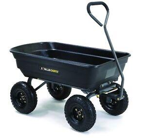 Tricam Gorilla Carts GOR200B Poly Garden Utility Yard Dump Cart Wheel  Barrow 600 Pound