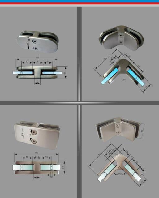 Edelstahl Glashalter Verbinder V2A / V4A Glasklemme Glass Clamp Inox 90° Ecke