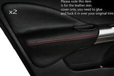 RED STITCH 2X FRONT DOOR CARD TRIM LEATHER SKIN COVERS FITS NISSAN JUKE 10-15