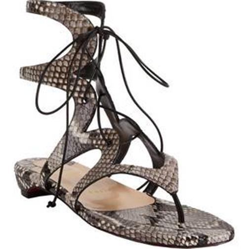 Christian Louboutin GIRAFINA niedrig Python Gladiator Flat sandalen Schuhe  1395