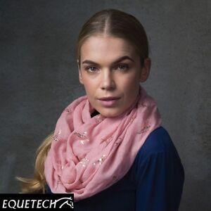 Equetech-Pheasants-Infinity-Scarf-Pink-Metallic-Rose-Gold-Foil-XMAS