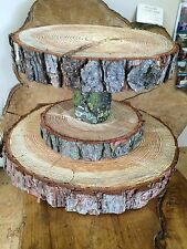 """Tiered Rustic Wooden Wedding cake/ Cup Cake stand, centre piece, 15"""" Base"""