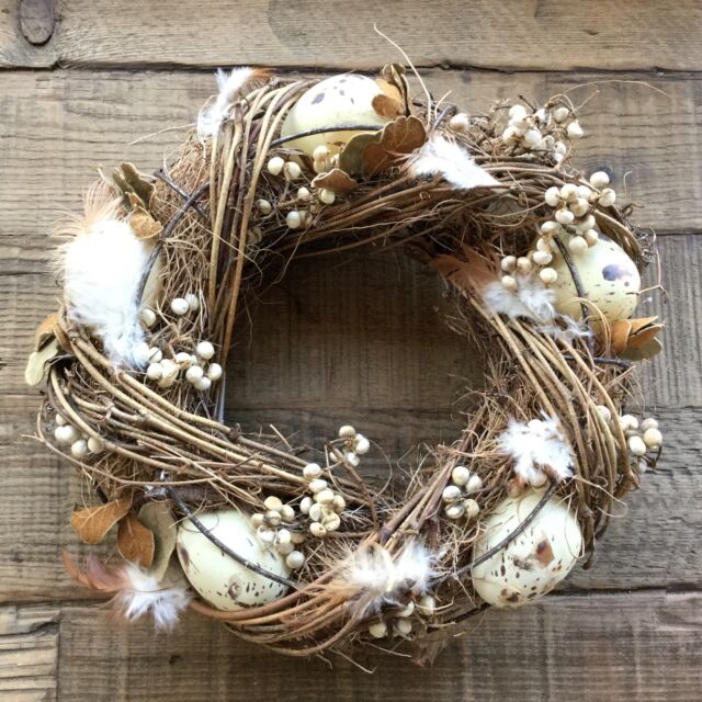 24cm Feather Twig Speckled Egg Easter Wreath Candle Ring Table Decoration
