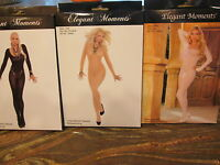 Elegant Moments 3 Opaque Bodystocking Lot One Size White Tan Black