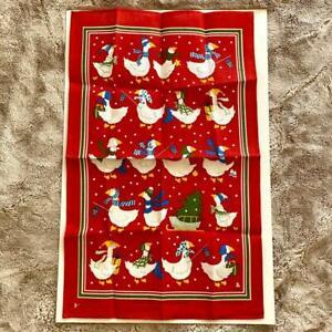 New Unused Ulster Weavers Irish Linen Tea Towel Christmas Geese 2911 Red