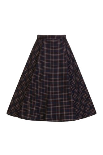 Hell Bunny Peebles Scottish Tartan 50s Vintage Retro Knee-long Flare Swing Skirt