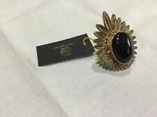 NWT House of Harlow 1960 New & Gen. Gold Plated Black Enamel Ring Size 7 & Logo