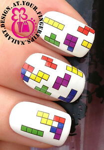Nail Art Water Stickers Transfers Decal Retro 80s Gaming Tetris