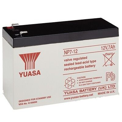 NP7 12 volt 7 ah GENUINE YUASA RECHARGEABLE ALARM/ SECURITY BATTERY