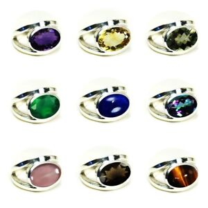 Gemsonclick Genuine Garnet Ring Band 925 Solid Silver Oval Shape Bezel Style Jewelry Size 5,6,7,8,9,10,11