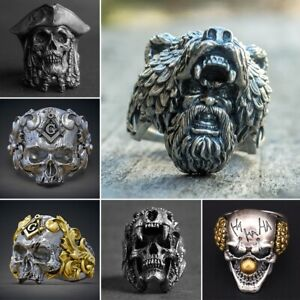 Cool-Men-039-s-Stainless-Steel-Gothic-Punk-Skull-Head-Boy-Biker-Finger-Ring-Jewelry
