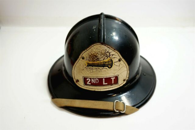 Vintage FIREMEN'S FIRE HELMET with leather tag 2ND LT and picture of nozzle