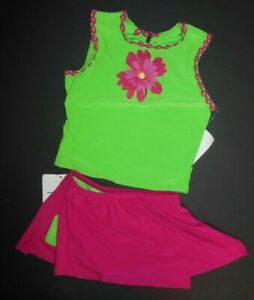 Details about Solo Dance costume Small child Jazz 2 piece set Skirted  shorts flower top