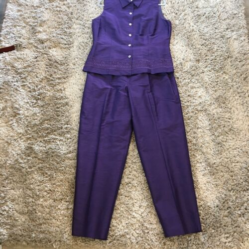 Talbots Silk 2 Piece Pant Suit Womens Size 14