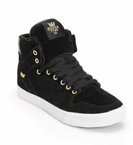 low priced 138b9 3a3c6 Details about NEW IN BOX MEN S US 9 SUPRA VAIDER BLACK GOLD WHITE SKATE  SHOES S28244