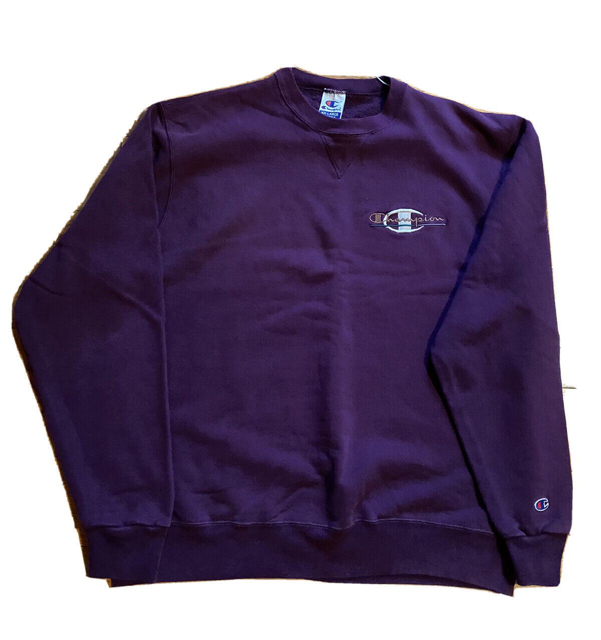 Vintage Rare Champion Crewneck Sweatshirt Spell Out Purple Womens XXL