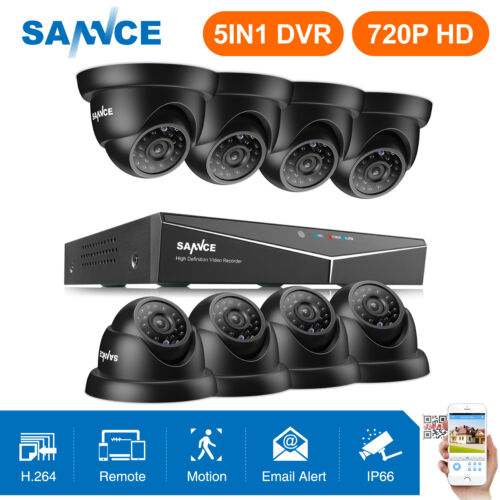 SANNCE 8CH 5in1 HD 1080P HDMI DVR 8x 720P 1500TVL Outdoor Security Camera System