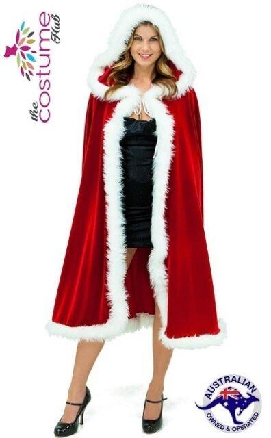 SEXY Ladies Santa Cloak with Hood Mrs Christmas Costume Xmas Fancy Dress