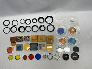 VTG Lot Of Series 5 V & 6 VI Camera Filters Adapter Rings Hoods Kodak Ednalite