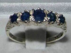 Solid-9ct-White-Gold-Natural-Sapphire-Vintage-Style-Band-Ring