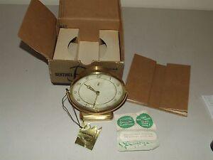 "Vintage 1940's Ingraham ""Sentinel"" Brass Deco Wind-Up Alarm Clock w/Original Box"