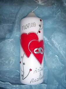 Hochzeitskerze Herzen rot