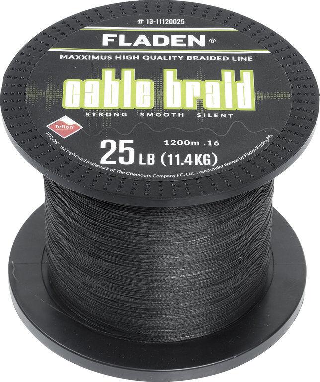 ( ( (  m) FLADEN Maxximus Cable Braid, geflochtene Angelschnur 1200m 0,10-0,30mm 5a4173