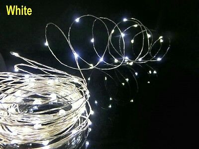 2m 20 LEDs Submersible Wire String Light Battery Powered Party Wedding White