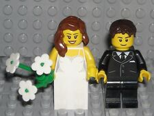 LEGO BRIDE GROOM MINIFIGURES Brown Hair WEDDING CAKE TOPPER NEW
